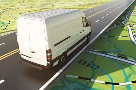 Photo pour Delivery van runs along the highway on a road map. 3D Rendering - image libre de droit