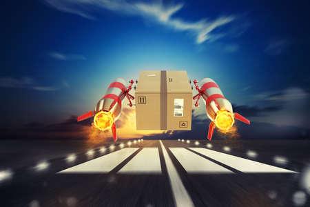 Foto de Fast delivery of package by turbo rocket. 3D Rendering - Imagen libre de derechos