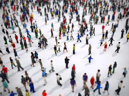 Photo pour Tilt shift focus on a large group of people. 3D Rendering - image libre de droit