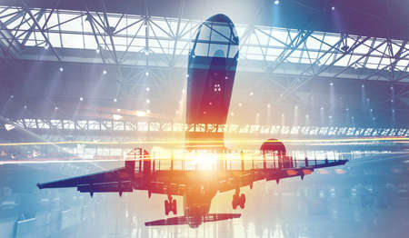 Photo for Take off of a modern aircraft with double exposure of airport - Royalty Free Image