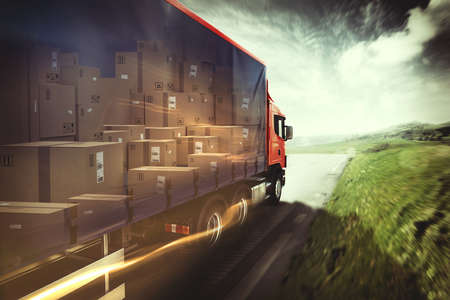 Photo pour Truck on the road. 3D Rendering - image libre de droit