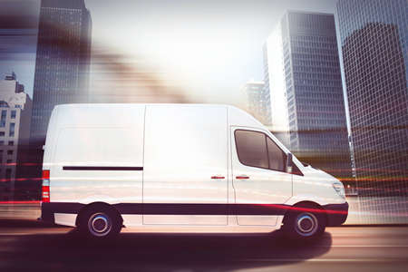 Foto per Fast van on a city road . 3D Rendering - Immagine Royalty Free