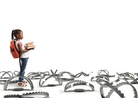 Photo pour Young student walking through the pitfalls - image libre de droit