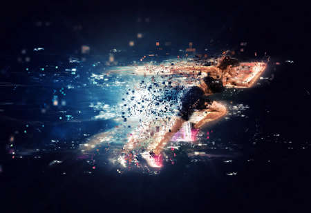 Photo for Athletic woman fast runner with futuristic effects - Royalty Free Image