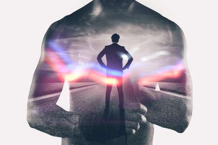 Photo pour Power and determination of a fighter businessman. Double exposure - image libre de droit
