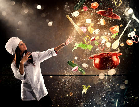 Photo for Magic chef ready to cook a new dish - Royalty Free Image