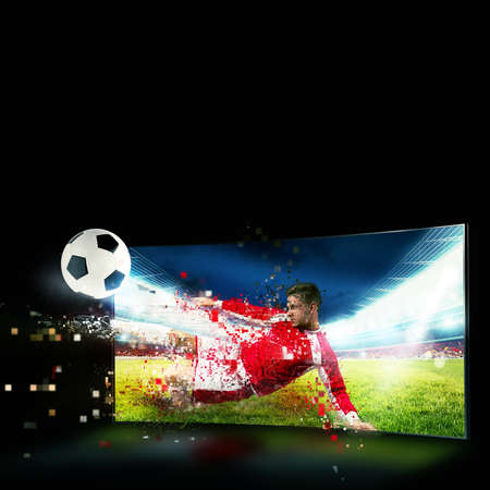 Photo pour Realism of sporting images broadcast on tv - image libre de droit