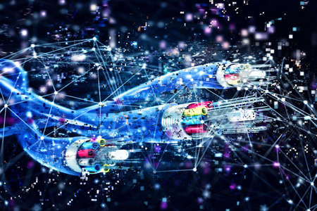 Foto de Image of optical fibers with digital effects. Concept of fast internet.3d render - Imagen libre de derechos