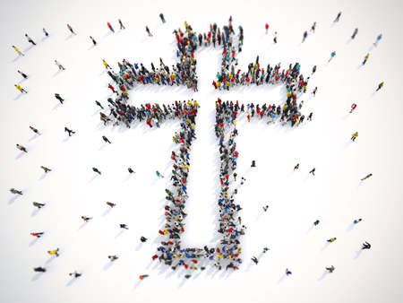 Foto de Many people together in a crucifix shape. 3D Rendering - Imagen libre de derechos