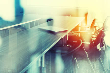 Photo for Abstract business background with meeting room. Double exposure - Royalty Free Image