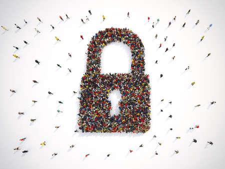 Photo pour Group of people forms a closed lock, security concept. 3D rendering - image libre de droit