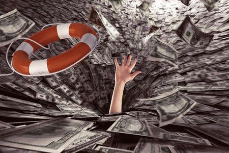 Foto de Businessman sucked by a black hole asks for help to get out of the crisis. - Imagen libre de derechos