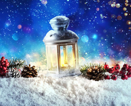 Photo for Shiny lantern on a Christmas background during the night - Royalty Free Image