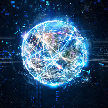 Foto de Concept of global internet connection network . World provided by Nasa - Imagen libre de derechos