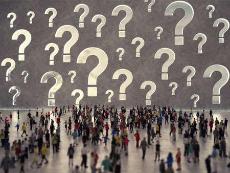 Photo pour People with questions. 3D Rendering - image libre de droit