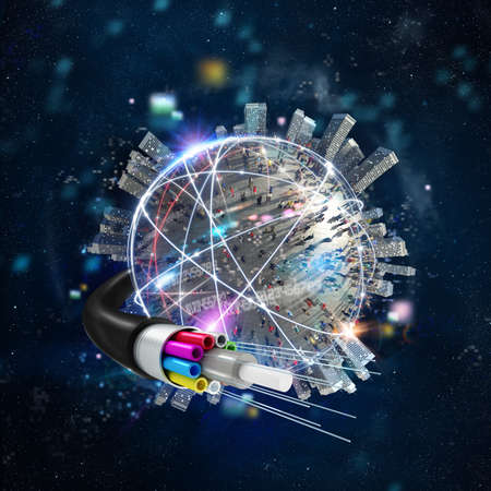 Foto de Fast internet worldwide connection with the optical fiber - Imagen libre de derechos