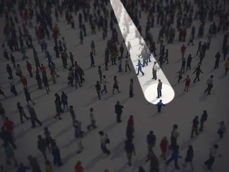 Photo for Identify in the crowd. 3D Rendering - Royalty Free Image
