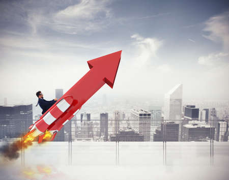 Photo pour Take-off business success. 3D Rendering - image libre de droit