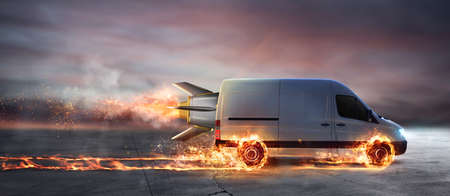 Foto per Super fast delivery of package service with van with wheels on fire - Immagine Royalty Free