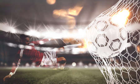 Foto de Background of a soccer ball scores a goal on the net. 3D Rendering - Imagen libre de derechos