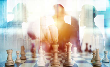 Photo for Business tactic with chess game and businessmen that work together in office. Concept of teamwork, partnership and strategy. double exposure - Royalty Free Image