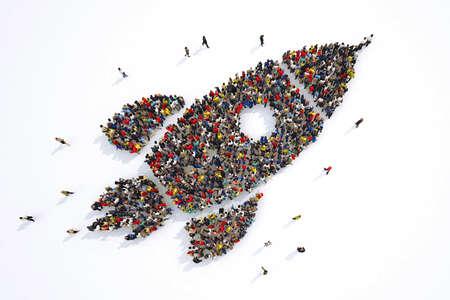 Foto de Many people together in a rocket shape. 3D Rendering - Imagen libre de derechos
