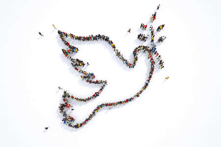 Photo pour Many people together in a pigeon shape. 3D Rendering - image libre de droit