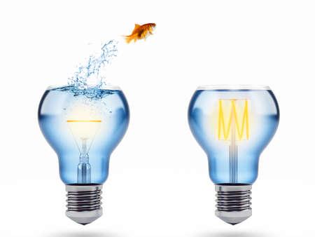 Photo pour Improvement and progress concept with a jump of goldfish. 3D Rendering - image libre de droit