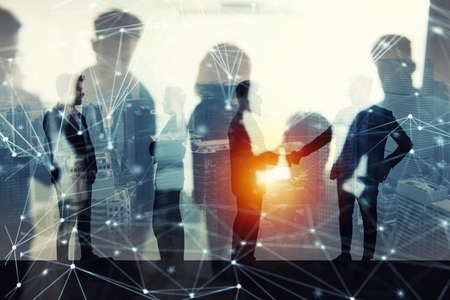 Photo for Handshaking business person in office with network effect. concept of teamwork and partnership. double exposure - Royalty Free Image