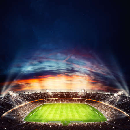 Foto de Top view of a soccer stadium at night with the lights on. 3D Rendering - Imagen libre de derechos