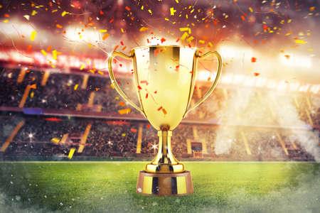 Photo pour Concept of triumph in a football final match - image libre de droit