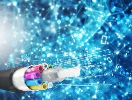 Photo pour Internet connection with optical fiber. Concept of fast internet - image libre de droit