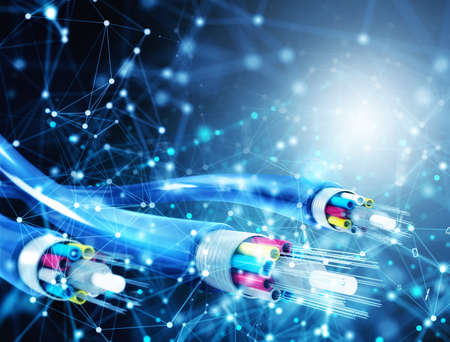 Foto de Internet connection with optical fiber. Concept of fast internet - Imagen libre de derechos