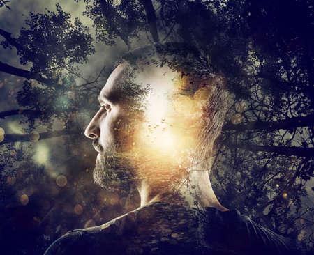 Photo pour Boy with a mystical forest in mind. Double exposure - image libre de droit