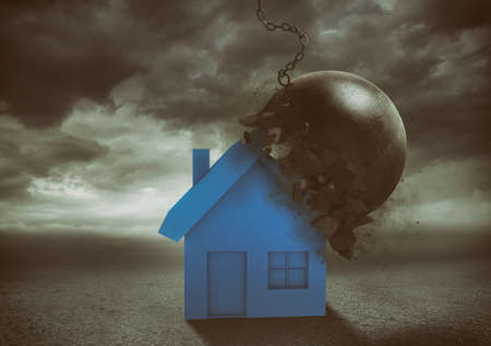 Foto de House resists the impact with a demolition ball. Concept of strength and indestructibility - Imagen libre de derechos