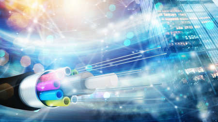 Foto für Internet connection with optical fiber. Concept of fast internet - Lizenzfreies Bild