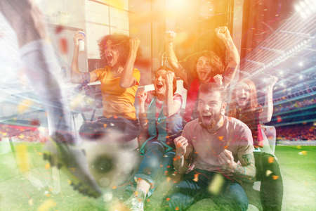Photo for Happy friends of football fans watching soccer on tv and celebrating victory with falling confetti. Double exposure - Royalty Free Image