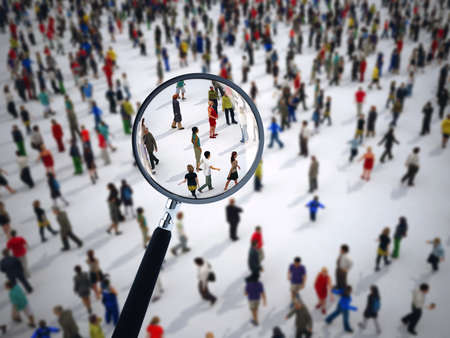 Photo for Magnifying glass on a large group of people. 3D Rendering - Royalty Free Image