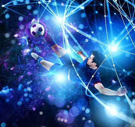 Photo pour Football scene with soccer player in front of a futuristic digital background - image libre de droit