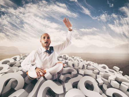 Photo for Man asks for help submerged by question marks. 3D Rendering - Royalty Free Image
