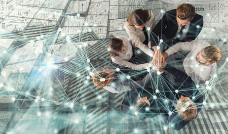 Photo for Handshaking business person in office. concept of teamwork and partnership. double exposure with network effects. - Royalty Free Image
