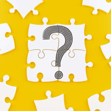 Foto de Puzzle tiles on a yellow background forming a question mark - Imagen libre de derechos