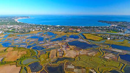 Foto de Aerial photography of La Baule Escoublac from Guerande salt marshes - Imagen libre de derechos