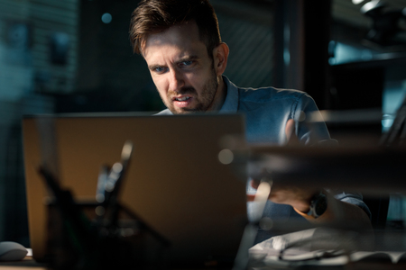 Photo for Man having error in computer while working - Royalty Free Image