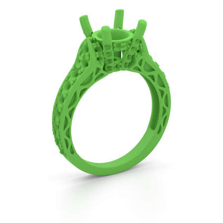 Photo for Wax 3D print jewelry model of engagement ring. 3D rendering - Royalty Free Image