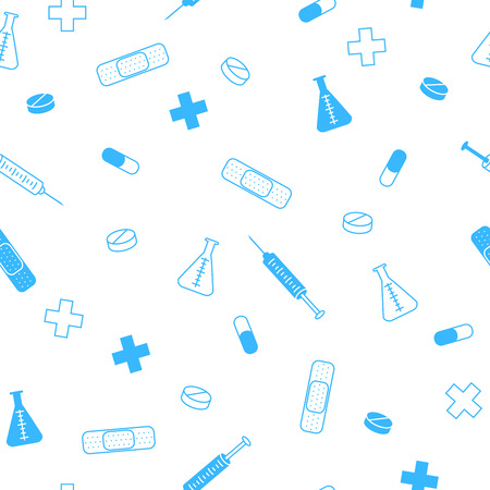 Photo for Abstract background health medicine tablet patch syringe seamless pattern blue vector - Royalty Free Image