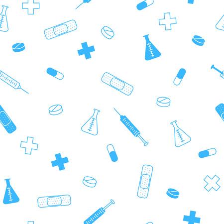 Photo pour Abstract background health medicine tablet patch syringe seamless pattern blue vector - image libre de droit
