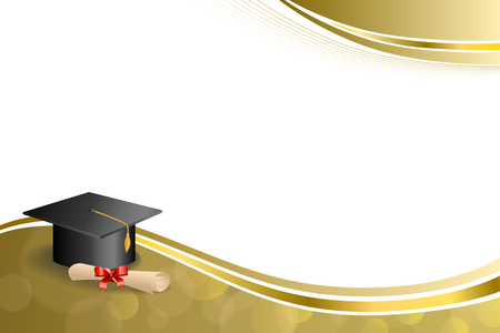 Background abstract beige education graduation cap diploma red bow gold frame illustration
