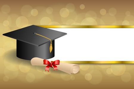 Illustration pour Abstract background beige education graduation cap diploma red bow gold stripes frame illustration vector - image libre de droit