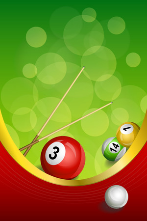 Background abstract green billiards pool cue red ball frame vertical gold ribbon illustration